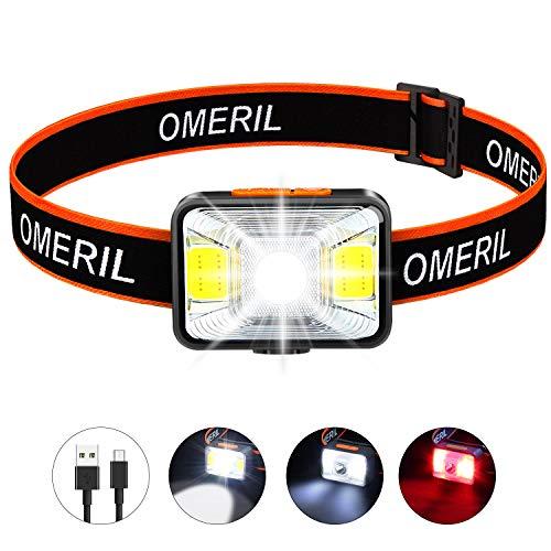 OMERIL Stirnlampe LED Wiederaufladbar...